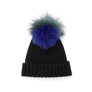 ルシェルブルー(LE CIEL BLEU)のルシェルブルー le ciel bleu ファー ポンポン ニット帽(ニット帽/ビーニー)