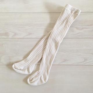 シマムラ(しまむら)の【美品】しまむら リブタイツ 75  ホワイト 白(靴下/タイツ)