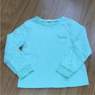 ジーユー(GU)の387.   GU ロンT 120㎝ ミントグリーン/袖レース(Tシャツ/カットソー)
