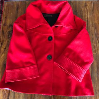 ザラ(ZARA)のZARA ウールコート 赤 L 美品  Aライン #ケープ#ポンチョ(ポンチョ)