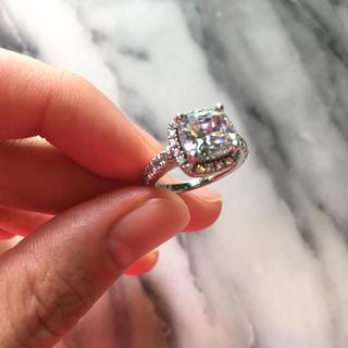 ハリーウィンストン(HARRY WINSTON)の人工ダイヤモンド リング スクエア 3カラット エンジェルピーチ(リング(指輪))