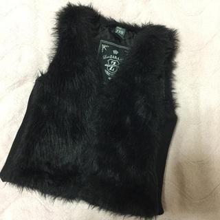 ザラキッズ(ZARA KIDS)のZARA(ザラ)ファー ベスト 98 ブラック 黒(ジャケット/上着)
