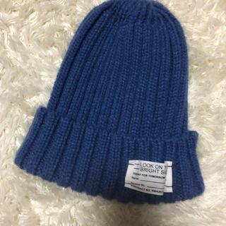 ジーユー(GU)のブルーニット帽(ニット帽/ビーニー)
