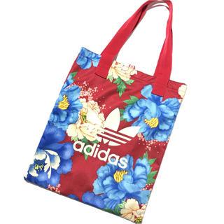 アディダス(adidas)のadidas*花柄トートバッグ 赤 レッド(トートバッグ)