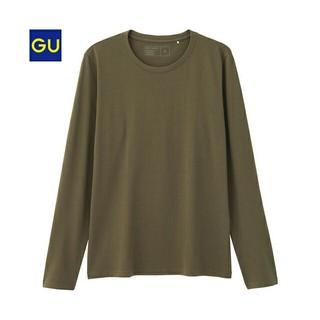 ジーユー(GU)のジーユーGUクルーネックT(長袖)カーキ S(Tシャツ/カットソー(七分/長袖))