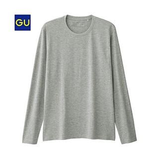 ジーユー(GU)のジーユーGUクルーネックT(長袖)グレー S(Tシャツ/カットソー(七分/長袖))
