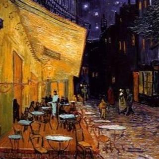 ポストカード 夜のカフェテラス(写真)
