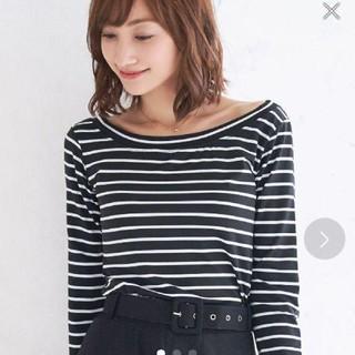 ニーナ(Nina)のNina 新品 ボートネック長袖カットソー Lサイズ(カットソー(長袖/七分))