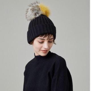 ルシェルブルー(LE CIEL BLEU)のルシェルブルー*リアルファー付きニット帽(ニット帽/ビーニー)