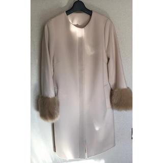 ジーユー(GU)のGU袖口ファー付きコート    Sサイズ(毛皮/ファーコート)