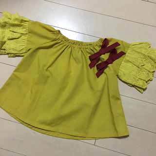 シマムラ(しまむら)の新品未着用 ベビー キッズ リボンフリル袖 カットソー(Tシャツ/カットソー)