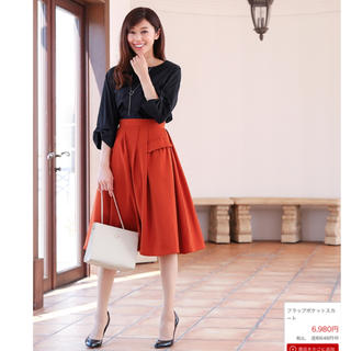 ティアクラッセ(Tiaclasse)のティアクラッセ フラップポケット スカート レンガ色 Mサイズ(ひざ丈スカート)