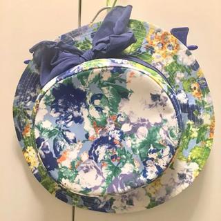 リズリサ(LIZ LISA)のLiz Lisa リズリサ カンカン帽 花柄 ブルー 未使用(ハット)