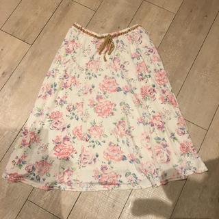 リズリサ(LIZ LISA)のLIZ LISA トゥララ Tralala 花柄 スカート リズリサ ピンク 白(ひざ丈スカート)