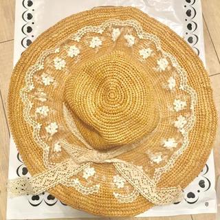 LIZ LISA - Crochet 麦わら帽子 美品 レース リボン