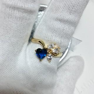 ジルコニアサファイア&ダイアモンドハートリング19号(リング(指輪))