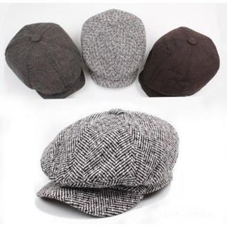 メンズ キャスケット リンボーン柄 ハンチング帽 ベレー帽 ブラック×ホワイト(ハンチング/ベレー帽)