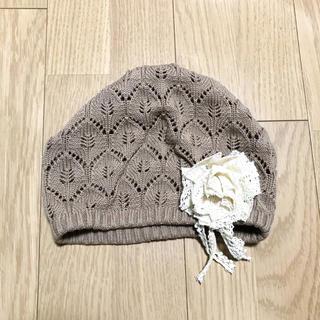 アースミュージックアンドエコロジー(earth music & ecology)のearth music&ecology ベレー帽 モカ ナチュラル コサージュ(ハンチング/ベレー帽)