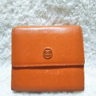 37a5592f328d シャネル(CHANEL)の正規品 CHANEL シャネル レディース 折財布 オレンジ 比較的美