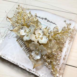 お花とリーフのヘッドドレス ウェディング (ヘッドドレス/ドレス)