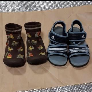 アディダス(adidas)のSkidDERS 靴 18m+adidas サンダル(14cm) (サンダル)