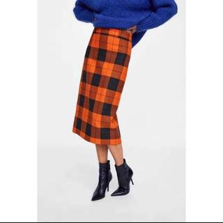 ザラ(ZARA)の今期 オレンジ チェックスカート Sサイズ(ひざ丈スカート)
