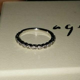 アガット(agete)のK10 ホワイトゴールド ダイヤリング(リング(指輪))