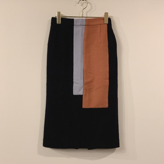 エンフォルド(ENFOLD)のBELPER/配色/ウールタイトスカート/S(ひざ丈スカート)
