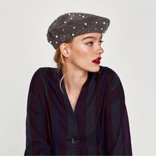 ザラ(ZARA)の新品✧ZARA パールベレー帽 ハンチング✧ザラ(ハンチング/ベレー帽)