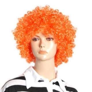 即買OK!ジャンボアフロヘアーかつらハロウィンパーティー橙オレンジ(ウィッグ)