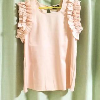 しまむら - 【新品】Mサイズ♡さえこさん肩フリル♡ノースリーブ ピンク