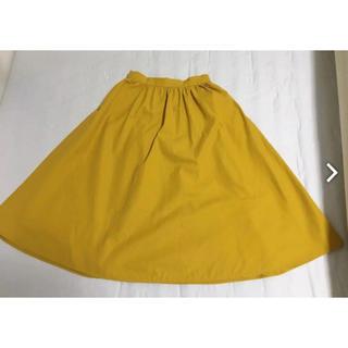 ジーユー(GU)の黄色 イエロースカート フレアスカート g.u 膝丈スカート(ひざ丈スカート)