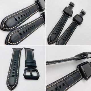 アップルウォッチ(Apple Watch)のアップルウォッチ用 パネライ極厚ベルトバックルセット★ブラック(レザーベルト)