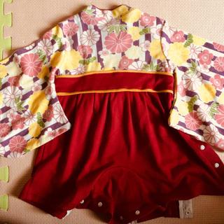 袴ロンパース70cmと靴下12〜14cmのセット(和服/着物)