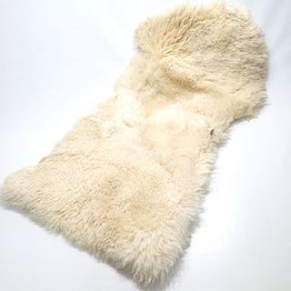 C288 本革 ムートン ファー ラグ ベージュ マット カーペット 絨毯(ラグ)