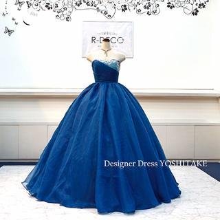 ウエディングドレス(パニエ無料サービス) ブルーオーガンジードレス 披露宴/二次(ウェディングドレス)