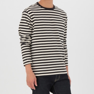 ムジルシリョウヒン(MUJI (無印良品))の無印良品 太番手クルーネックボーダーTシャツ S(Tシャツ/カットソー(七分/長袖))