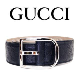 グッチ(Gucci)の22 GUCCI ネイビー マイクログッチシマ GG レザー ベルト85/34(ベルト)