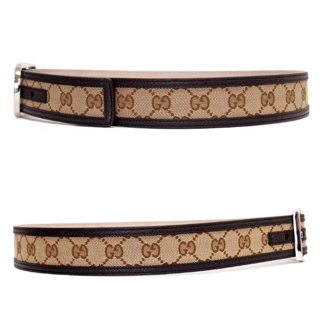 Gucci(グッチ)の23GUCCI GGキャンバス×レザー ベージュ×ブラウンベルト85/34 メンズのファッション小物(ベルト)の商品写真