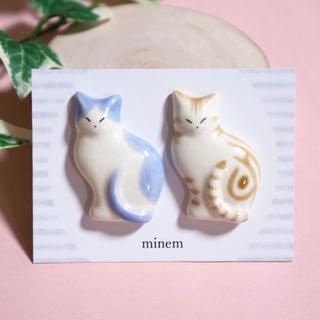 薄型猫の箸置き  ブルー&アメショ茶 陶磁器 ハンドメイド (食器)