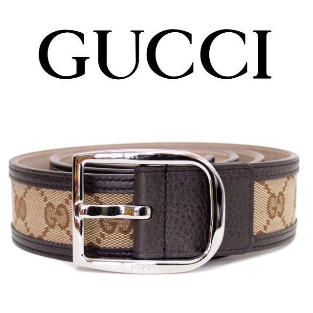 Gucci(グッチ)の23GUCCI GGキャンバス×レザー ベージュ×ブラウンベルト90/36 メンズのファッション小物(ベルト)の商品写真