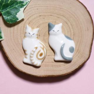薄型猫の箸置き アメショ茶&グレー 陶磁器 ハンドメイド (食器)