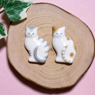 薄型猫の箸置き グレー&茶(カトラリー/箸)
