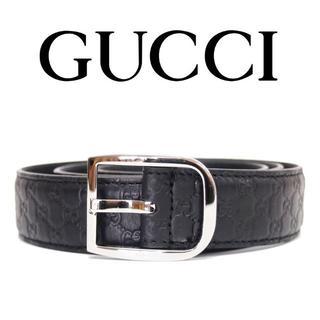 グッチ(Gucci)の24 GUCCIマイクログッチシマ ブラック レザー ベルト85/34(ベルト)
