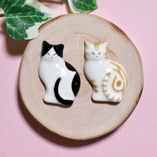薄型猫の箸置き 黒&アメショ茶 陶磁器 ハンドメイド (食器)