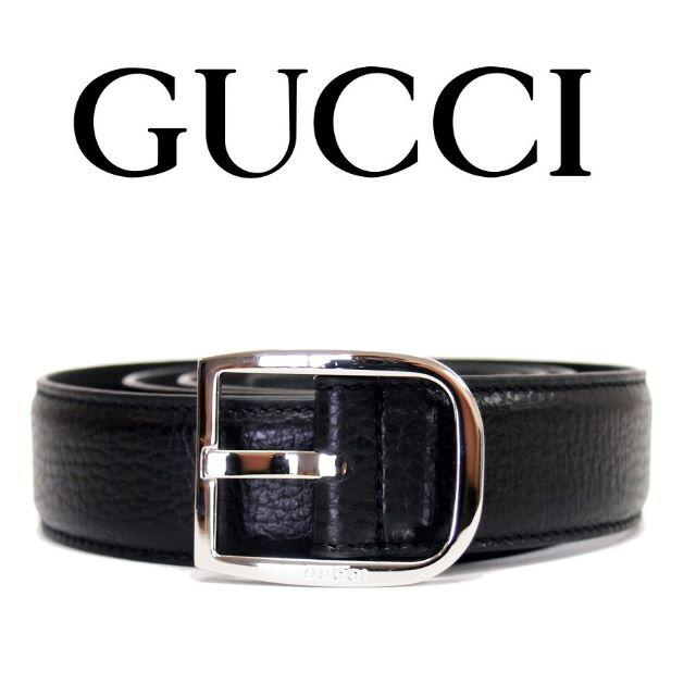 Gucci(グッチ)の25 GUCCI ブラック レザー ベルト size 95/38 メンズのファッション小物(ベルト)の商品写真