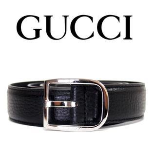 グッチ(Gucci)の25 GUCCI ブラック レザー ベルト size 95/38(ベルト)