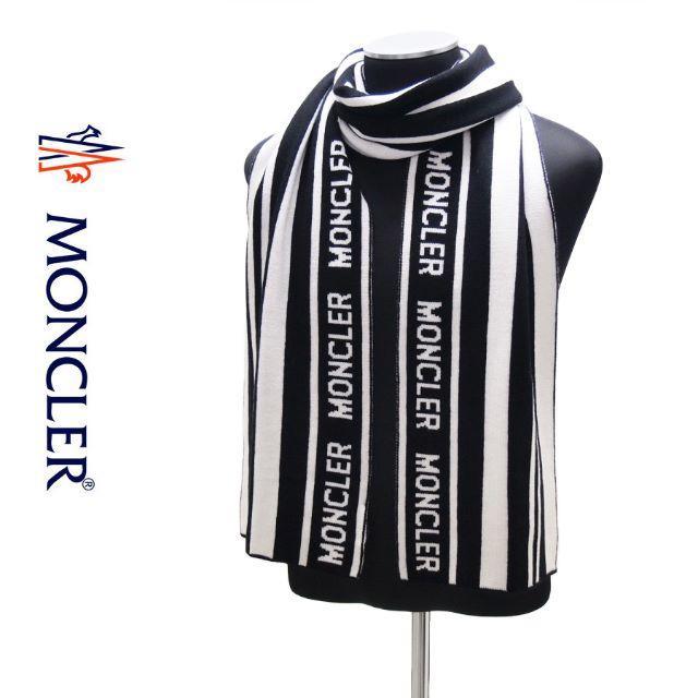MONCLER(モンクレール)の専用 63 MONCLER  ホワイト×ブラック ブランドロゴ マフラー メンズのファッション小物(マフラー)の商品写真