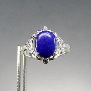 ラピスラズリ指輪925銀リング天然石一点物13.5号石街U0093(リング(指輪))