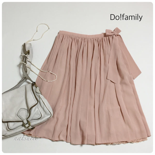 ドゥファミリー(DO!FAMILY)のdo family . ウエストリボン シフォン ギャザー スカート ピンク(ひざ丈スカート)